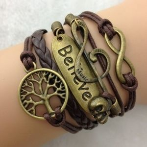 Jewelry - New! Leather Infinity Believe Boho Charm Bracelet